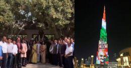 മഹാത്മാവിന് ആദരമൊരുക്കി പ്രവാസികൾ; ഗാന്ധിയുടെ ചിത്രം തെളിച്ച് ബുർജ് ഖലീഫയും