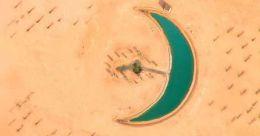 ദുബായ് മരുഭൂമിയിൽ ചന്ദ്രക്കലയുടെ രൂപത്തിൽ തടാകം; വീണ്ടും പ്രകൃതിയുടെ വിസ്മയം