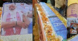 71 അടി നീളം; സിറിഞ്ചിന്റെ മാതൃകയിൽ പിറന്നാൾ കേക്ക്; മോദിക്ക് വേറിട്ട ആശംസ