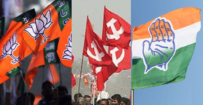bjp-cpm-congress-flags