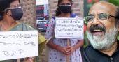 ബിജെപി സമരത്തിൽ അബദ്ധം; ഡിവൈഎഫ്ഐ പ്ലക്കാർഡുമായി പ്രവർത്തക; 'ഐസക്ക് കണ്ടത്'