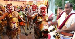 ദുബായിൽ 'പുലി'കളിറങ്ങി പൂരവും; നാദവിസ്മയം തീർത്ത് നട്ടന്നൂരും സംഘവും